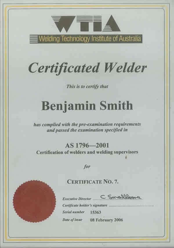 Welding certification cards pictures to pin on pinterest for Welding certificate template